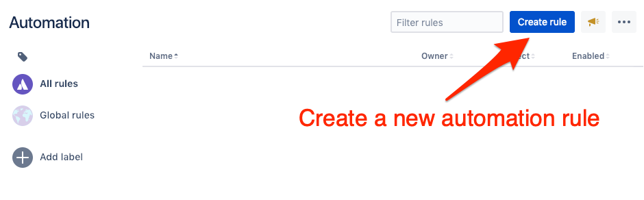 Create new rule for automation for Jira
