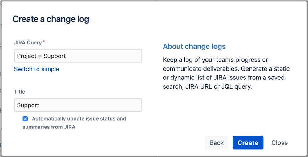 Dynamic Jira change log Report in Confluence