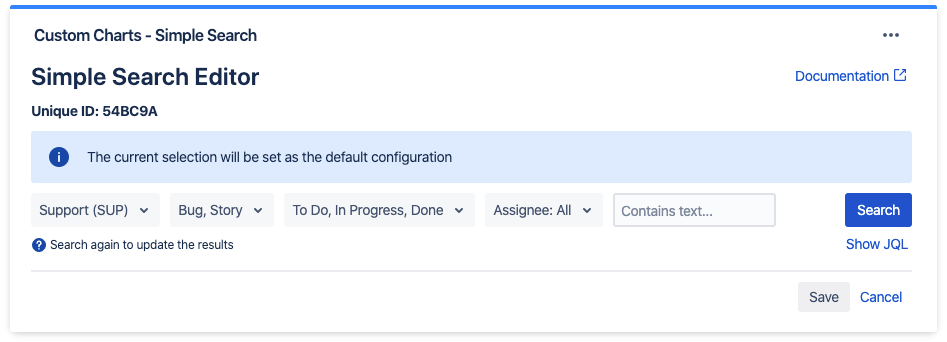 Default values for searching Jira Projects