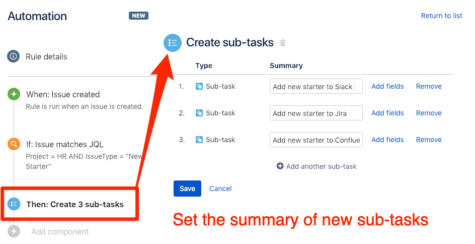 Set the summary to create new sub-tasks in Jira