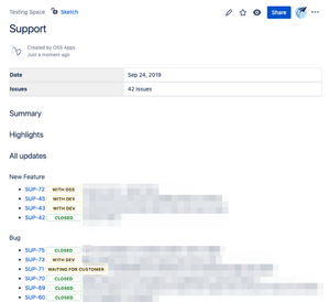 Change Log Jira Report View in Confluence