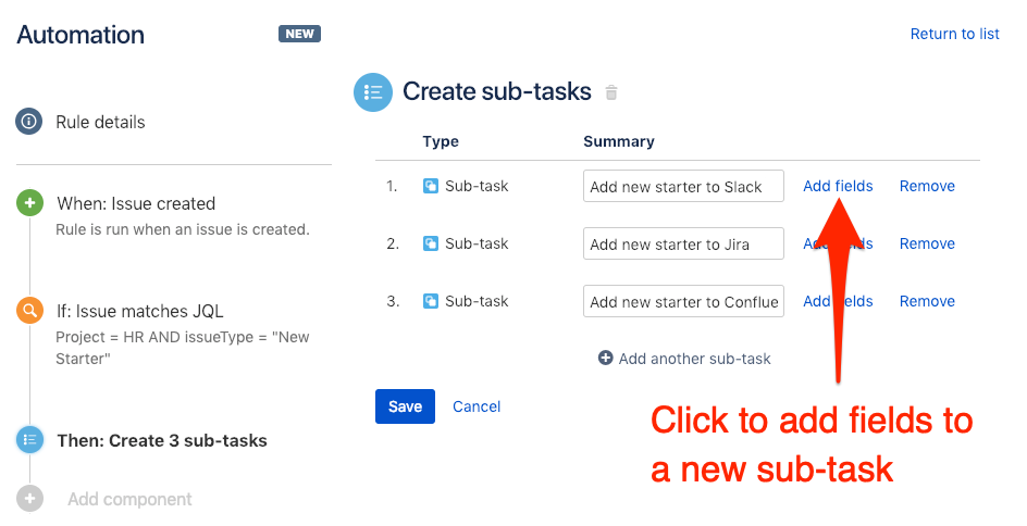 Click to add fields to your Jira sub-tasks