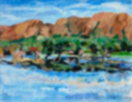 landskap, landscape,  acrylic painting, akrylmålning, konstnär Kalle Andersson, berglandskap Grekland,