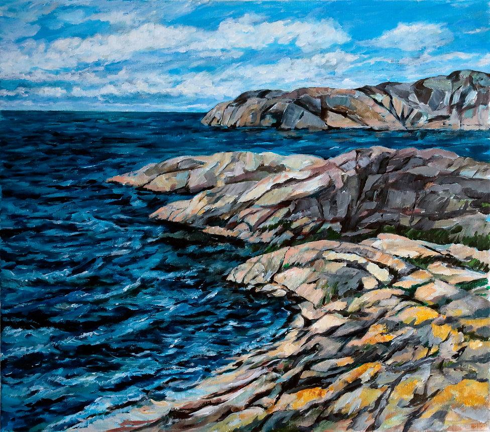 Gullmarsfjorden, Havslandskap, Havsutsikt, Bohuslän, Västkusten, acrylic painting, akrylmålning, konstnär Kalle Andersson