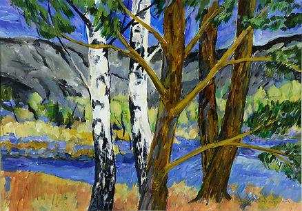 konstnär Kalle Andersson, landskap, landscape,  acrylic painting, akrylmålning, träd, trädlandskap, Bohuslän, björkar, tallar, träddunge