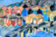 Sjöbodar, Fiskeläge, Bohuslän, Västkusten, acrylic painting, akrylmålning, konstnär Kalle Andersson,