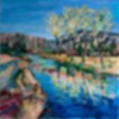 konstnär Kalle Andersson, landskap, landscape,  acrylic painting, akrylmålning, träd, vårlandskap, Bohuslän, vattenspegling
