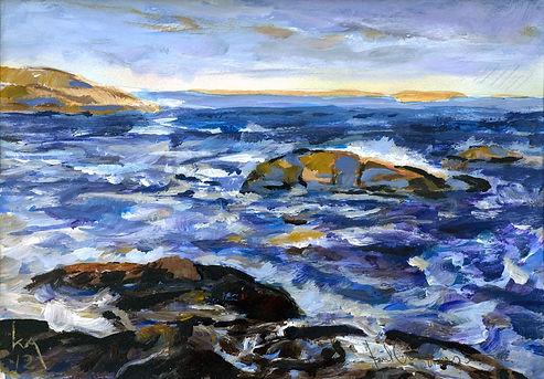 Havsutsikt, Bohuslän, Västkusten, acrylic painting, akrylmålning, konstnär Kalle Andersson