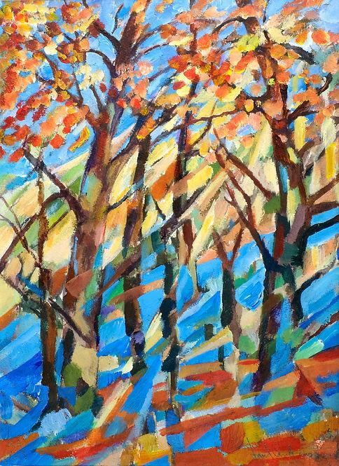 konstnär Kalle Andersson, landskap, landscape,  acrylic painting, akrylmålning, höstträd, höstlandskap, skog, ljusreflektioner, höstfärger