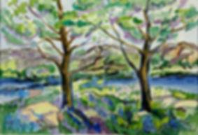 Kalle Andersson, Karl Andersson, Kallebild, Konstnär, Artist, Bildkonstnär, Painter, Målare, Skulptör, Sculptor, Svensk konstnär, Swedish artist, Västkust målare, West Coast painter, Uddevalla, Bohuslän, Eriksberg,  målning, painting, konstverk, artwork, kolorist, colorist, porträtt. portrait, konst, art,   Naturskildrare, Natural portrayer, akvarellmålning, watercolor painting, landskapsmålning, landscape painting, Vårträd, Spring tree,