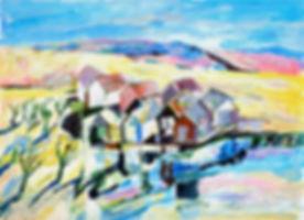 Sjöbodar, Fiskeläge, Bohuslän, Västkusten, acrylic painting, akrylmålning, konstnär Kalle Andersson