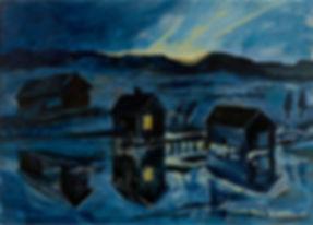 konstnär Kalle Andersson, landskap, landscape,  acrylic painting, akrylmålning, gryning, fiskarstuga, drömhus, fiskeläge, spegling i havet,  Bohuslän