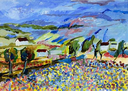 konstnär Kalle Andersson, landskap, landscape,  acrylic painting, akrylmålning, Grekisk bergsby, landskap Kreta, blomsteräng