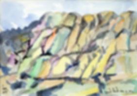 Kalle Andersson, Karl Andersson, Kallebild, Konstnär, Artist, Bildkonstnär, Painter, Målare, Skulptör, Sculptor, Svensk konstnär, Swedish artist, Västkust målare, West Coast painter, Uddevalla, Bohuslän, Eriksberg,  målning, painting, konstverk, artwork, kolorist, colorist, porträtt. portrait, konst, art,   Naturskildrare, Natural portrayer, akvarellmålning, watercolor painting, landskapsmålning, landscape painting, Bohuslän, bergsformationer, rock formations,