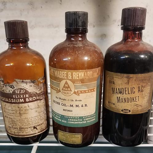 Vintage 3 Apothecary Medicine Bottles