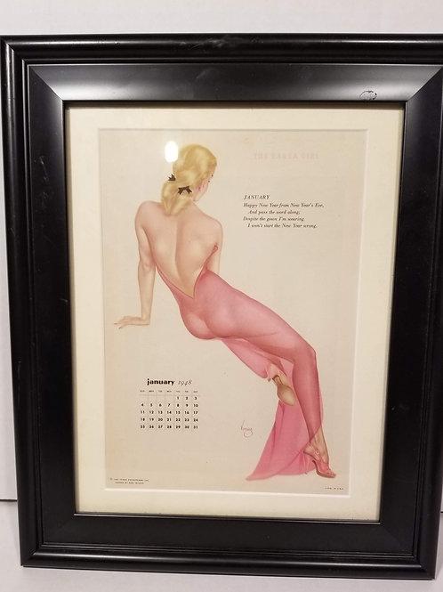Vintage Original SEXY VARGA GIRL Miss January Calendar Sheet 1948 Framed