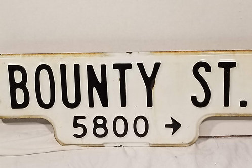 Antique Porcelain Enamel Bounty Street Sign