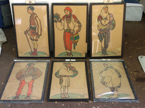 1930's 6 Piece Pencil and Watercolor Wall Art