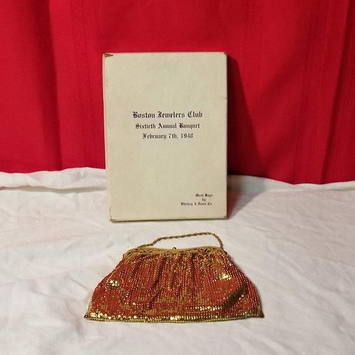 1948 Boston Jewelers Club 60th ann Banquet Whiting & Davis Mesh Compact Purse