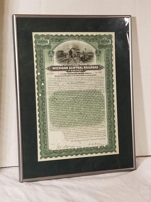 1907 Michigan Central Railroad Company Bond Stock Certificate