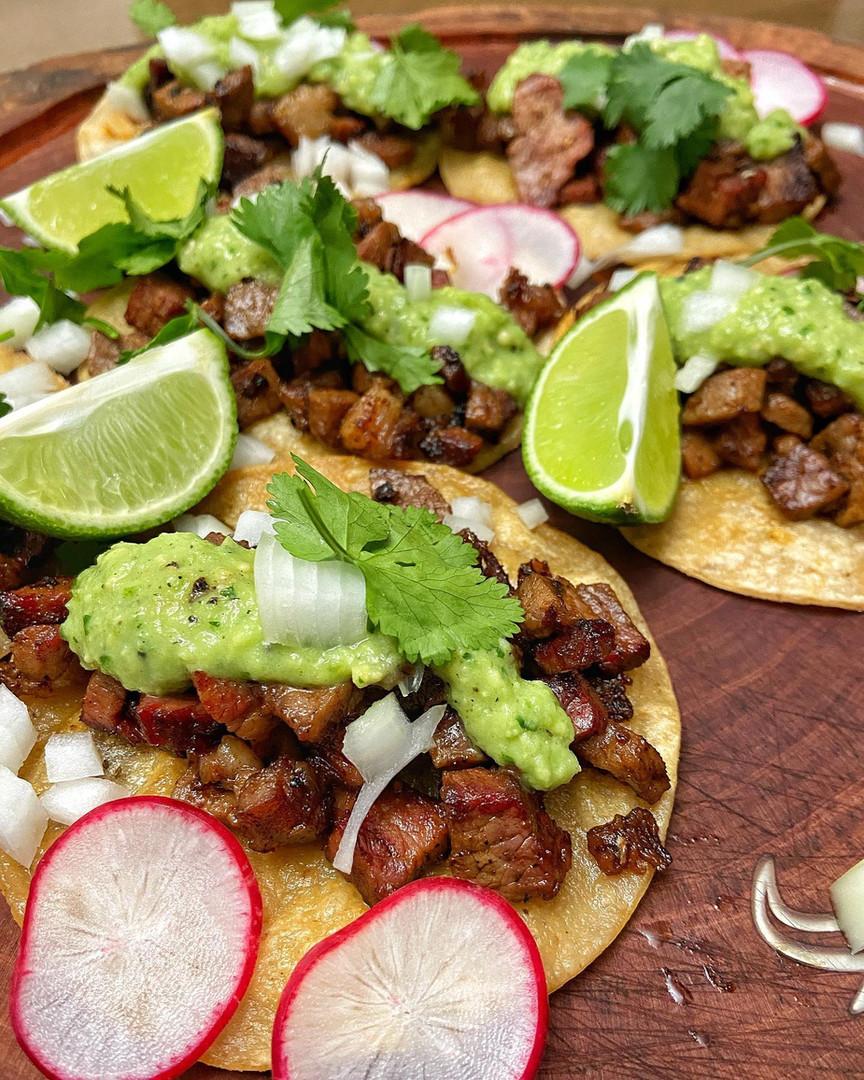 Tacos with avocado salsa.