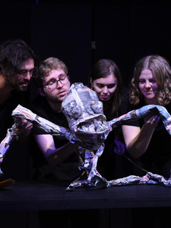 Josh Elwell, puppeteer and students