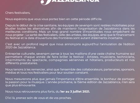 Annulation de l'édition 2020 de Jazzablanca Festival