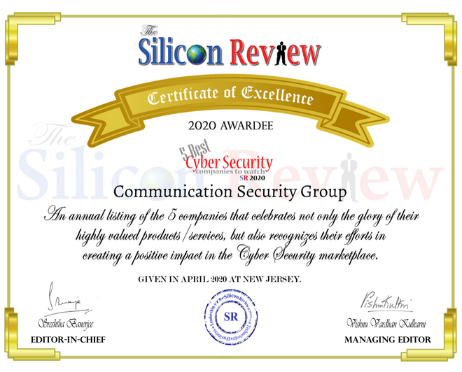 """""""5 Best Cyber Security Companies To Watch 2020"""" The Silicon Review"""