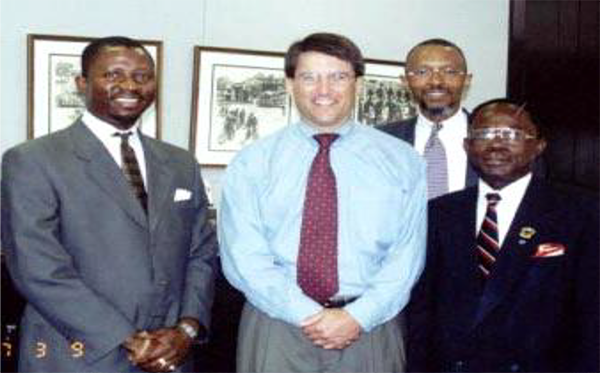 From Right Is: Mr. Francis S. Kanu, President/Owner Of Fobs Insurance Agency, In Chalotte, N.C.; Honorable Patrick Lloyd McCrory, Former Governor Of North Carolina, ; Rev. Dr. Sheldon R. Shipman, Senior Adviser Of Fhth,&Mr. Abraham H. Nyei, Sr., Th.M., Fhth Founder.