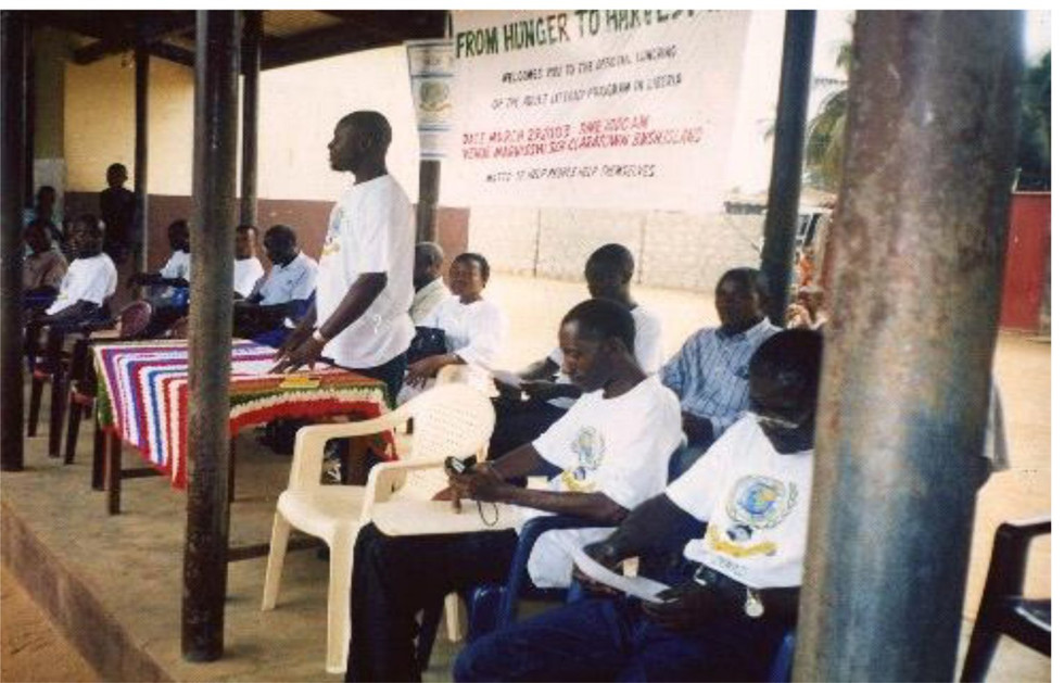 The Above Photo Is the Lunching Of The FHTH In Liberia, Sitting In The Front, Second From Right Is Mr. Vamba F. Kanneh, The First Fhth Executive Director Of Liberia.