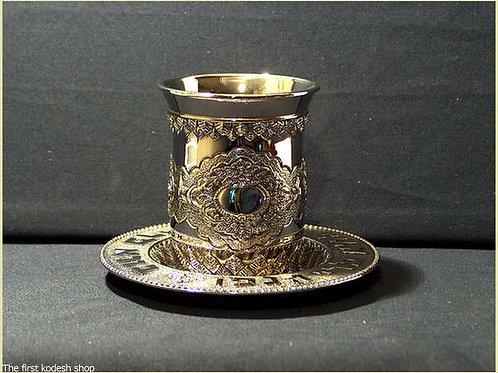 גביע קידוש עם צלחת מוכסף ומעוטר עם צלחת