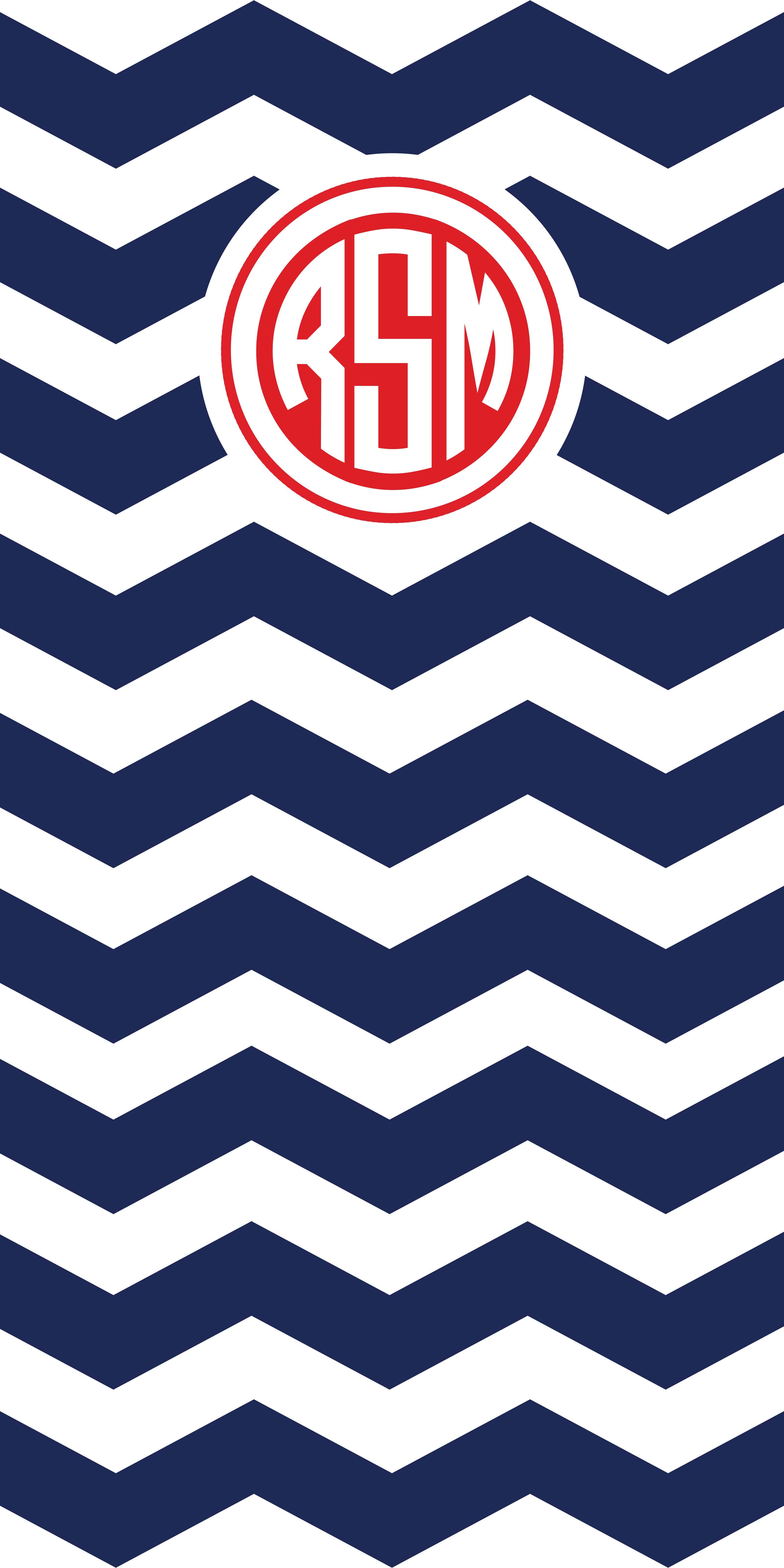 Monogram Navy Chevron