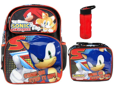 Sonic the Hedgehog Deluxe Embossed Backpack with Insulated Lunchbox and Water Bo