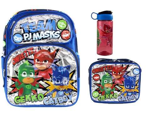 PJ Masks Deluxe 3D Backpack & Matching Insulated Lunch Box PLUS Drink Bot
