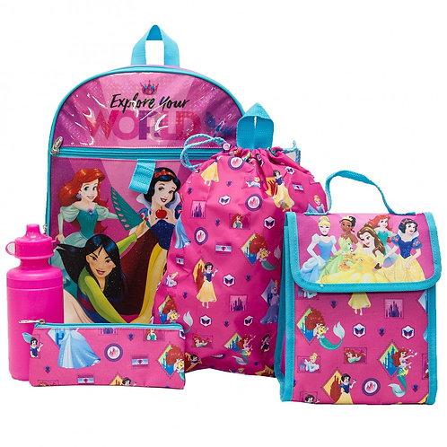 Disney Princess 5 PC Backpack Set