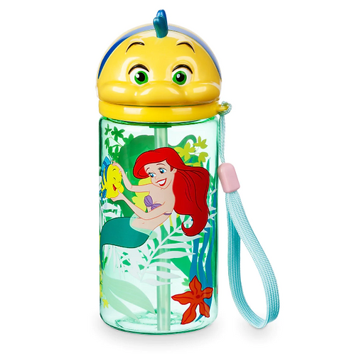 Flounder Flip Top Drink Bottle with Straw - The Little Mermaid