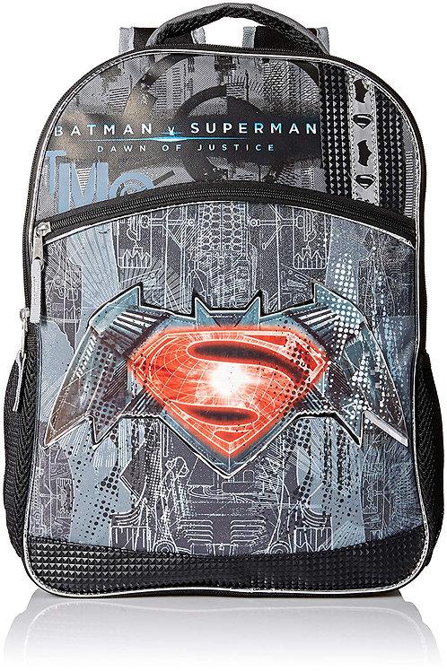 Warner Brothers Boys' Batman Vs. Superman Logo Backpack, Grey/black
