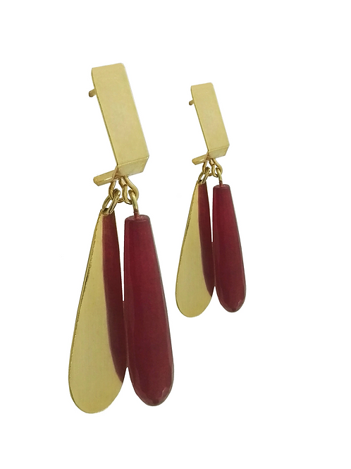 earring red quartz