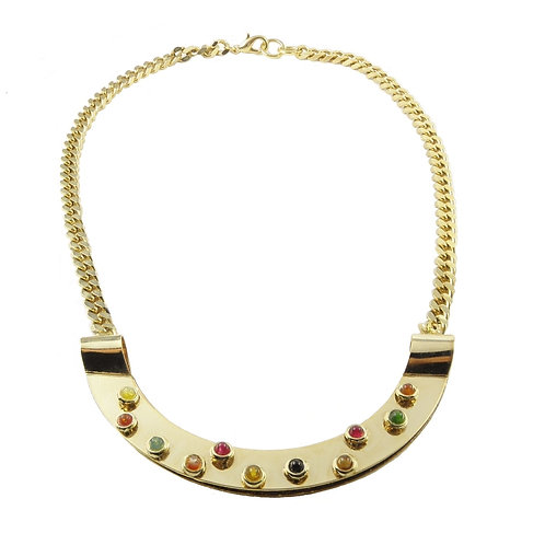 necklace golden brass multicolor quartz
