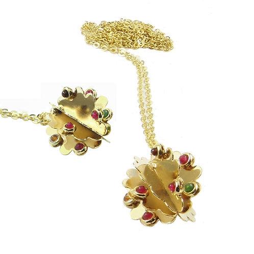 necklace pending golden brass multicolor quartz