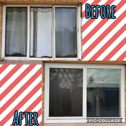 Before and after Largs' bedroom window
