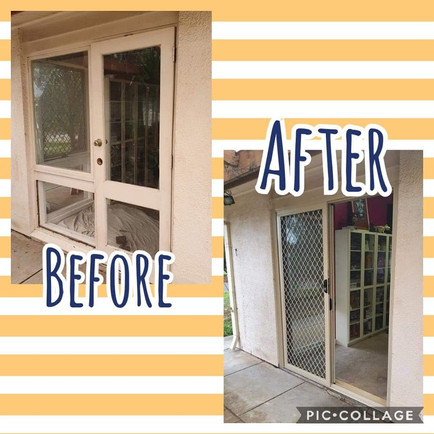Before and after Paperbark sliding door