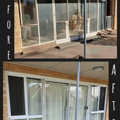 Largs North front door before and after