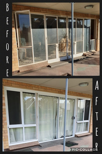 Largs Bay sliding front door before and after