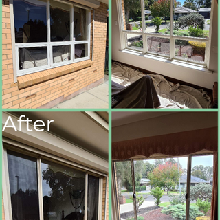 Before and after bedroom sliding window.