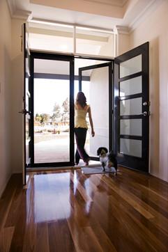 Clearshield front door satin black insid