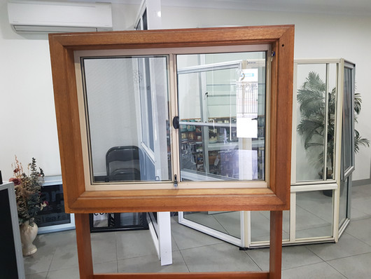 Example sliding window in timber frame