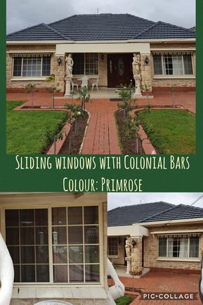 Primrose sliding window with colonial bars