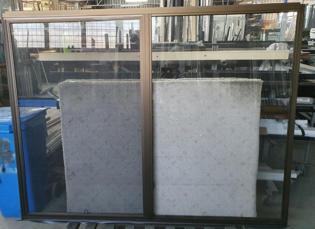 Bronze anodised sliding window