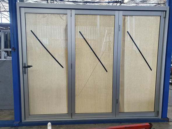 BiFold door in clear anodized
